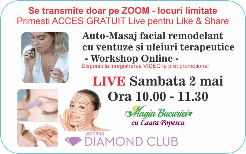 Workshop ONLINE GRATUIT: Masaj facial cu Ventuze si Uleiuri Esentiale doTERRA