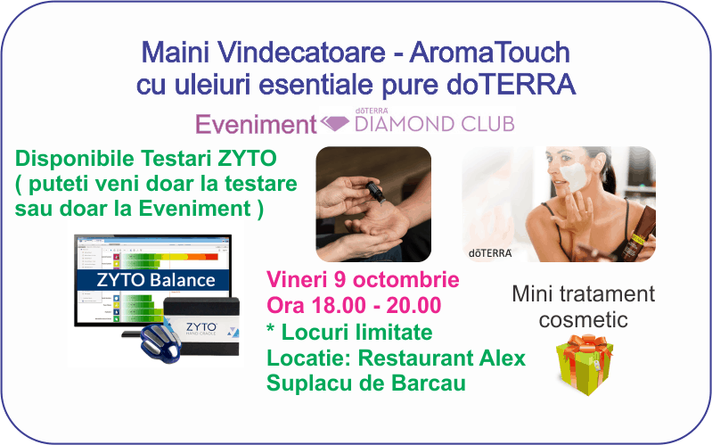Suplacu de Barcau: Workshop doTERRA Maini Vindecatoare si Testari ZYTO