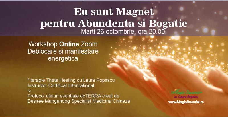 Eu sunt Magnet pentru Abundenta si Bogatie – Workshop Online Zoom